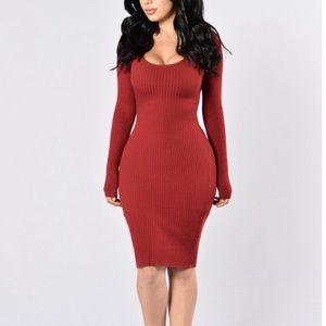 "NWT FASHION NOVA ""The Hottest Ex Dress"" Burgandy"
